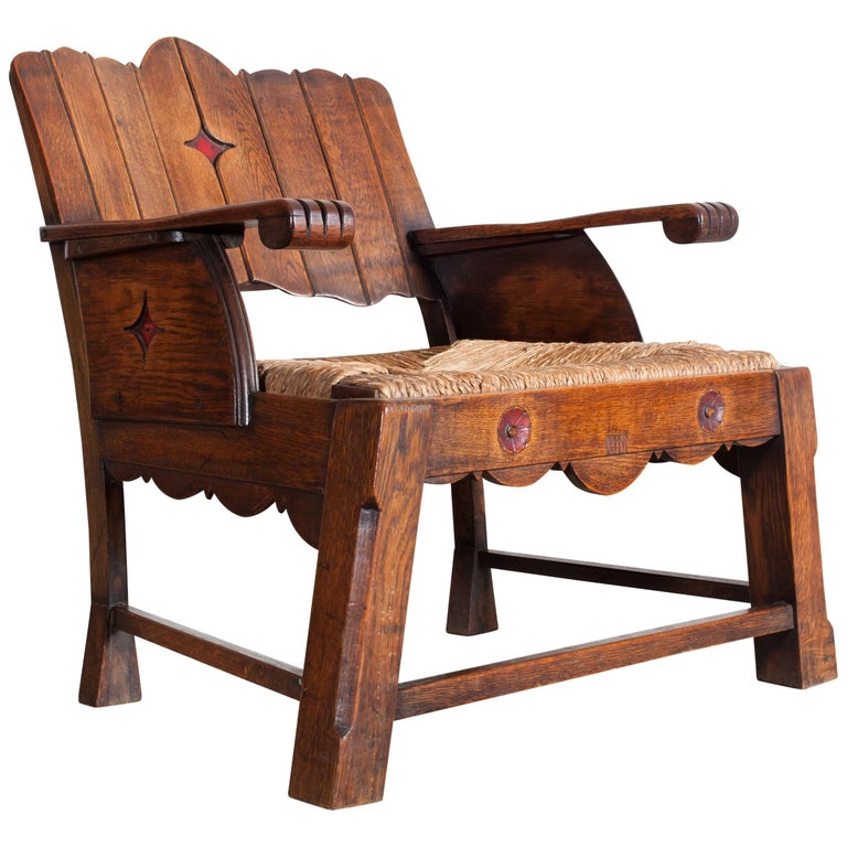 Sculptural Arts & Crafts Armchair in Oak For Sale