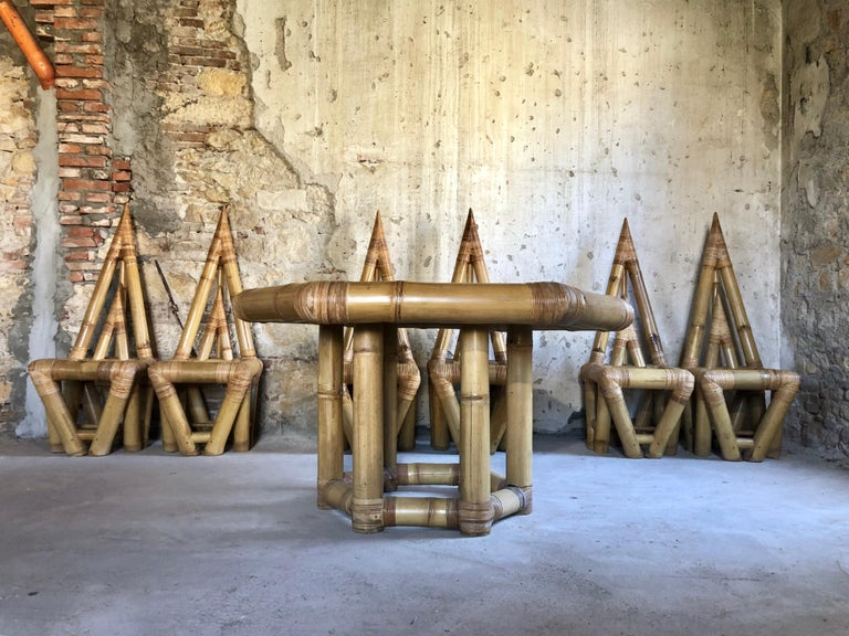 Mid-Century Modern Sculptural Bamboo Dining Set, Italy, 1979 For Sale