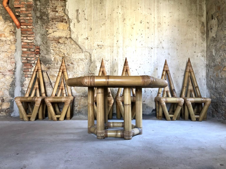 Italian Sculptural Bamboo Dining Set, Italy, 1979 For Sale