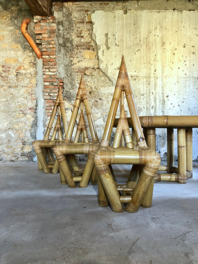 Sculptural Bamboo Dining Set, Italy, 1979 In Fair Condition For Sale In Lonigo, IT