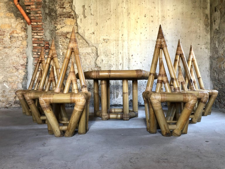 Sculptural Bamboo Dining Set, Italy, 1979 For Sale 1