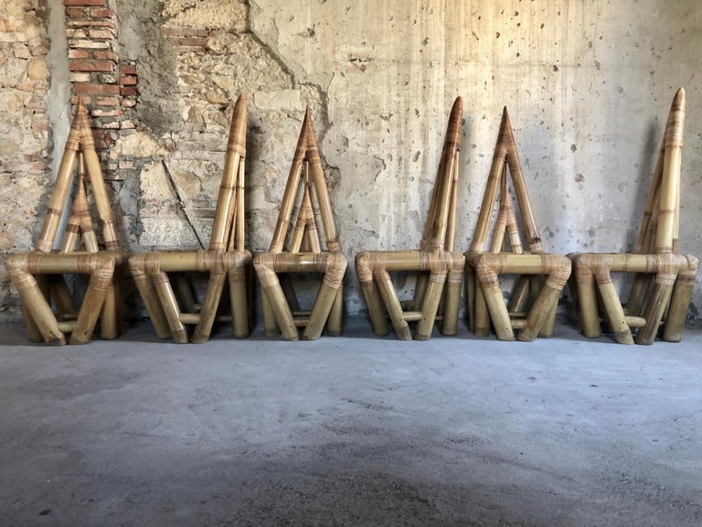 Sculptural Bamboo Dining Set, Italy, 1979 For Sale 2