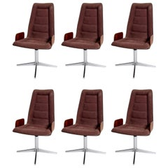 Sculptural Bent Walnut Plywood Dining Chairs Set of Six Mid-Century Modern