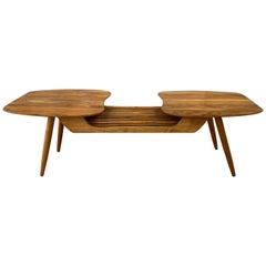 Sculptural Bi-Level Biomorphic and Slat Top Walnut Coffee Table, 1960s
