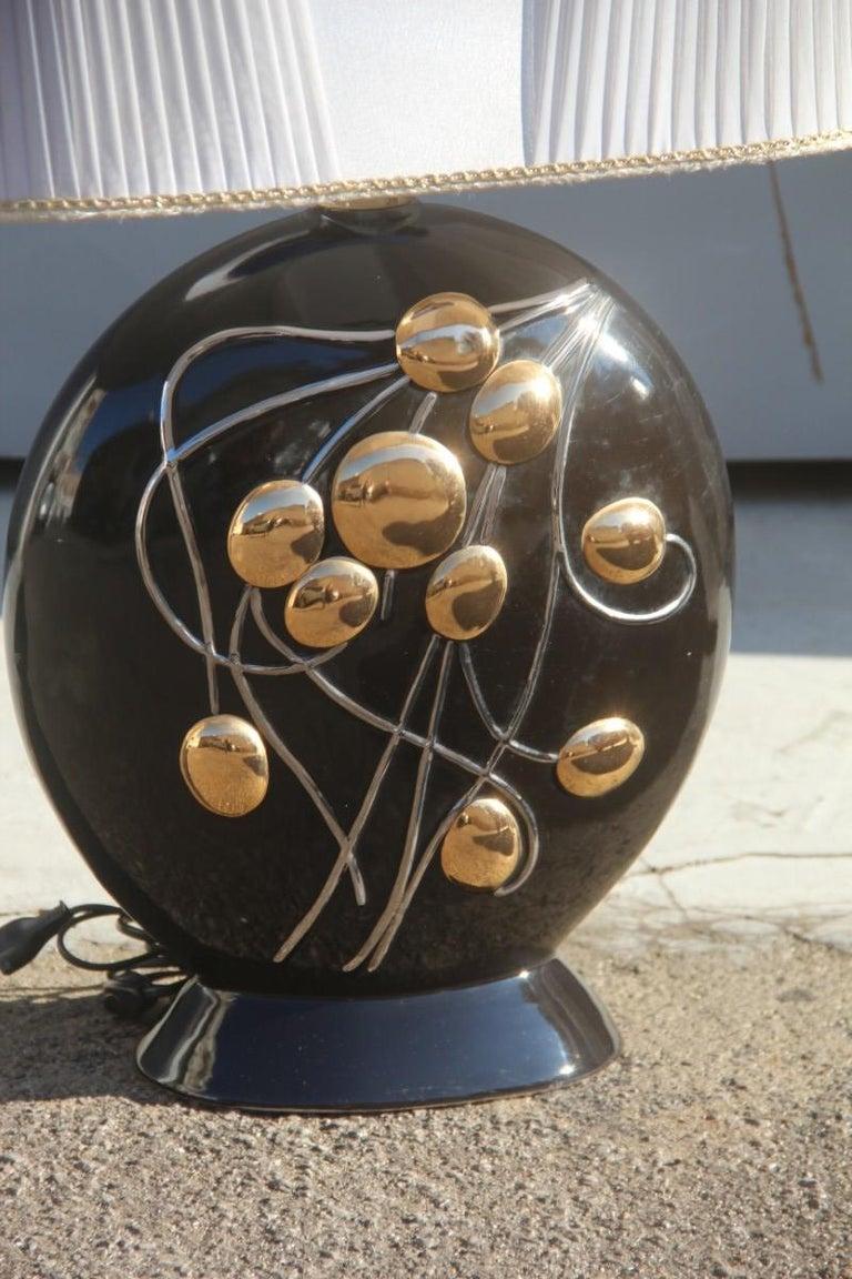 Sculptural Big Ceramic Table Lamp 1970 Black Gold and ...
