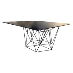 Sculptural Blackened Iron Base Table Attributed to Paolo Piva, Italy, 1980