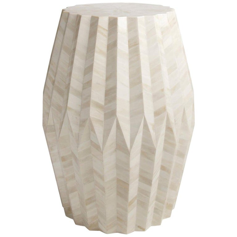 Sculptural Bone Marquetry Table, Tabla Table For Sale