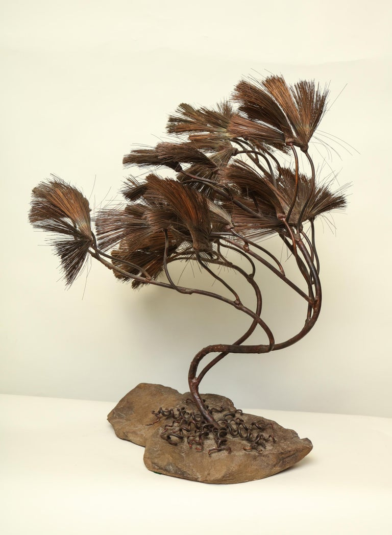 Sculptural Bonsai Tree Mid-Century Modern Iron Copper and Stone, 1960s For Sale 3