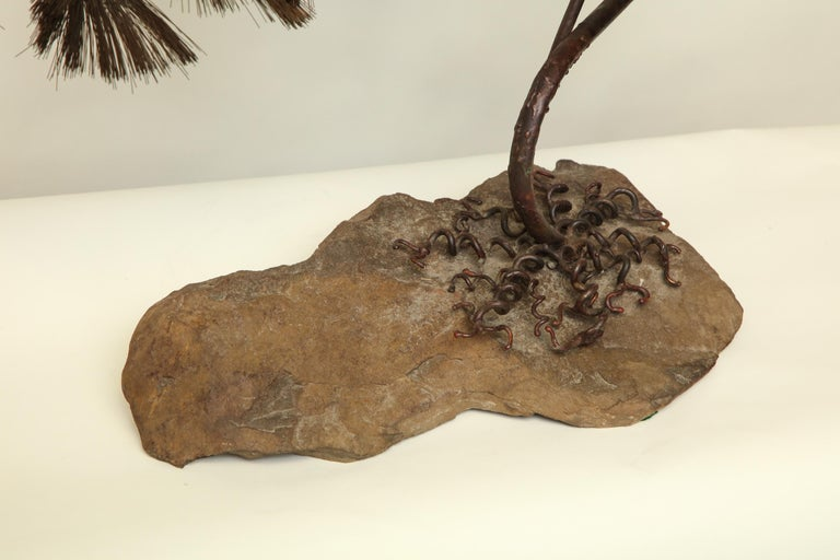 Sculptural Bonsai Tree Mid-Century Modern Iron Copper and Stone, 1960s In Good Condition For Sale In New York, NY
