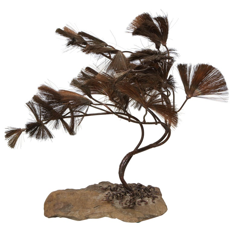 Sculptural Bonsai Tree Mid-Century Modern Iron Copper and Stone, 1960s For Sale