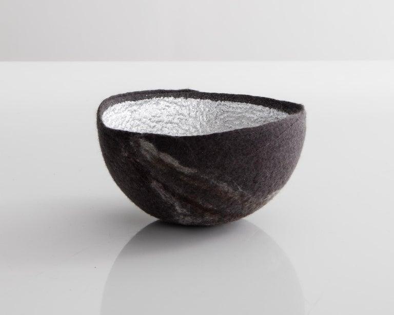 Modern Sculptural Bowl in Dark Gray and Silver Metallic Felt by Ronel Jordaan, 2016 For Sale
