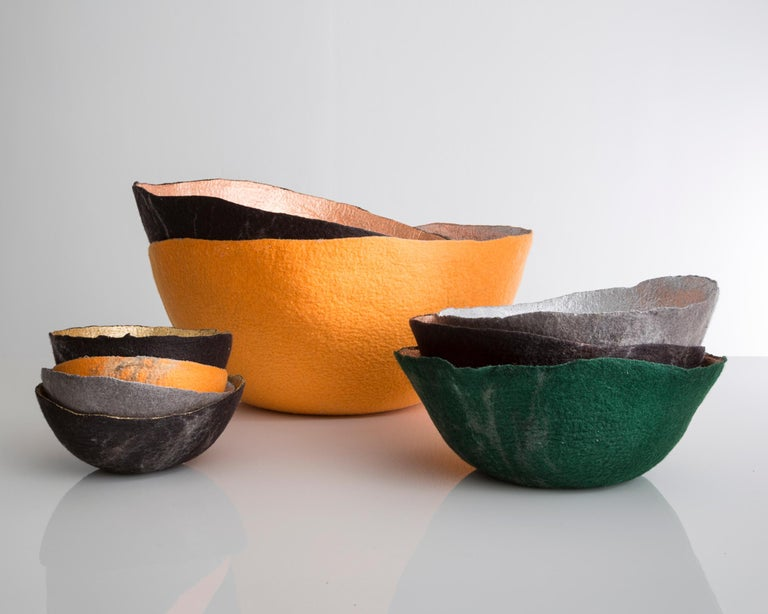 Sculptural bowl in metallic felt. Designed and made by Ronel Jordaan, South Africa, 2014.