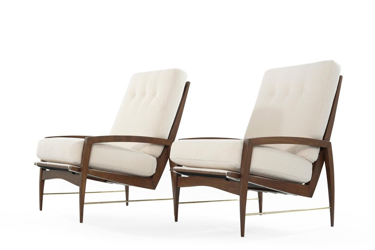 Scandinavian Modern Sculptural Brass Accented Teak Lounge Chairs, Denmark, 1950s