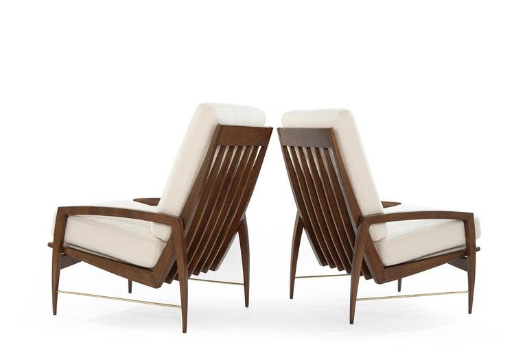 Danish Sculptural Brass Accented Teak Lounge Chairs, Denmark, 1950s