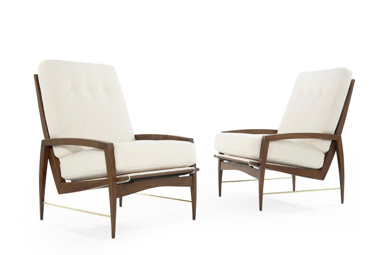 Sculptural Brass Accented Teak Lounge Chairs, Denmark, 1950s In Excellent Condition In Stamford, CT