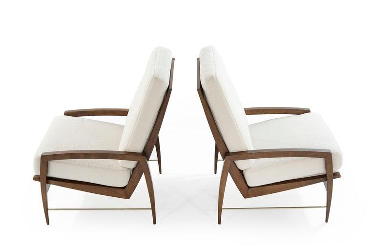 20th Century Sculptural Brass Accented Teak Lounge Chairs, Denmark, 1950s