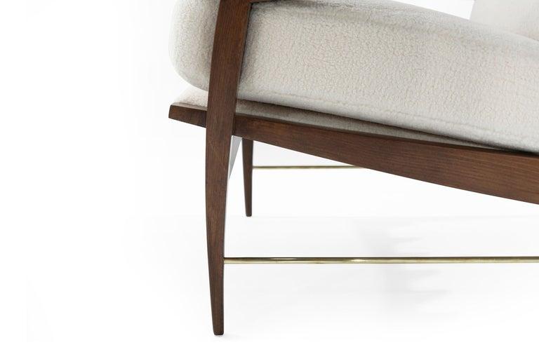 Sculptural Brass Accented Teak Lounge Chairs, Denmark, 1950s 2