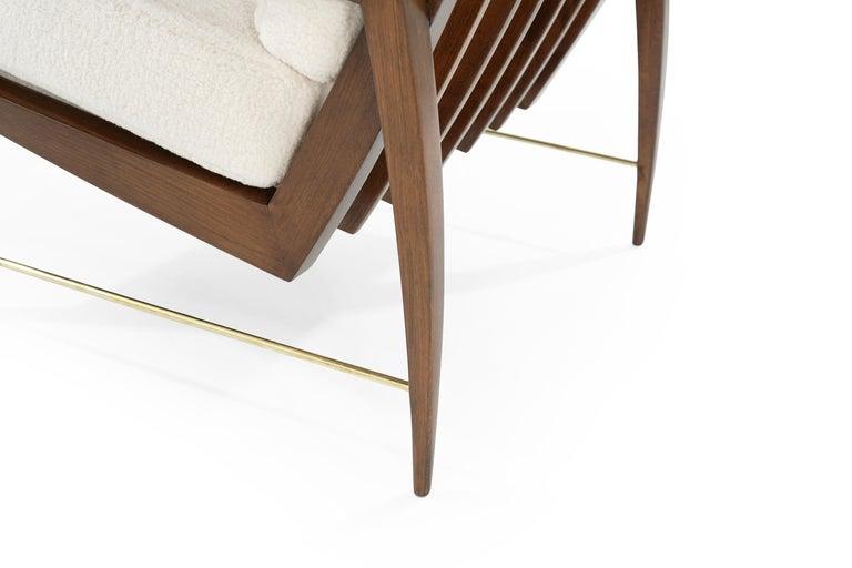 Sculptural Brass Accented Teak Lounge Chairs, Denmark, 1950s 3