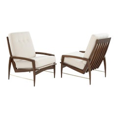 Sculptural Brass Accented Teak Lounge Chairs, Denmark, 1950s