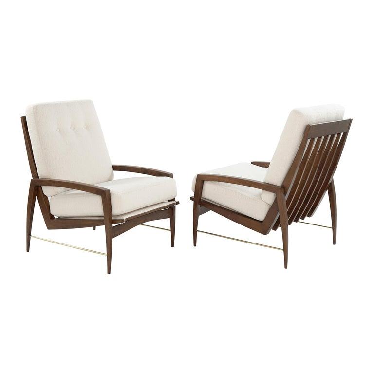 Sculptural Brass Accented Teak Lounge Chairs, Denmark, 1950s