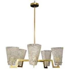 Sculptural Brass and Glass Six-Arm Hanging Fixture