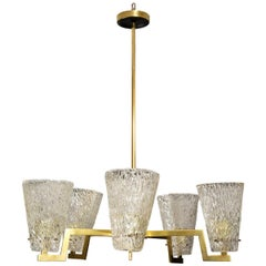 Vintage Brass and Glass Six-Arm Hanging Fixture