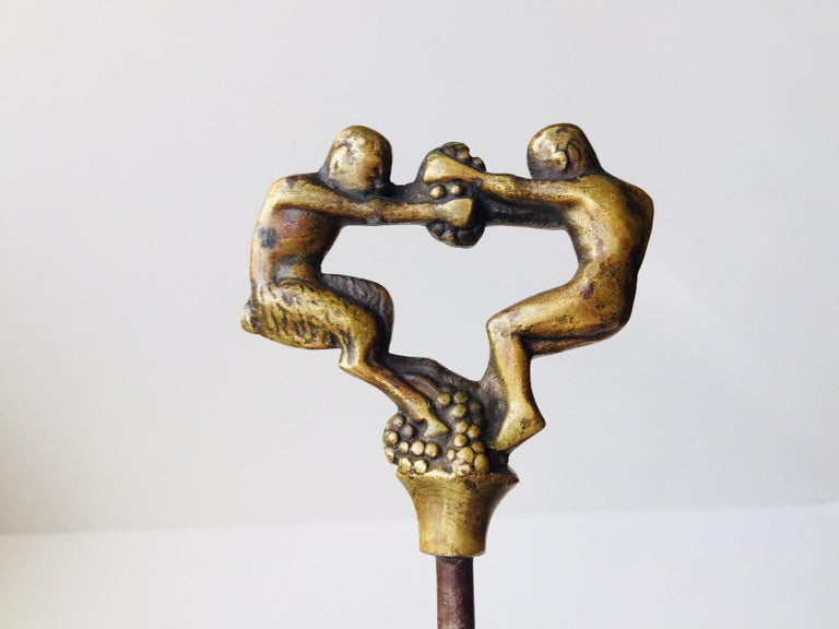 Art Deco Sculptural Brass Corkscrew by Kay Bojesen for Einar Dragsted, 1920s For Sale