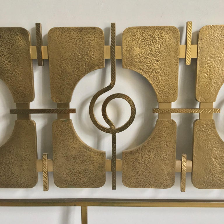 Italian Sculptural Brass Headboard by Luciano Frigerio, Italy, 1960s For Sale