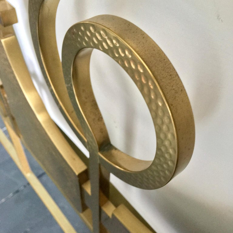 Mid-20th Century Sculptural Brass Headboard by Luciano Frigerio, Italy, 1960s For Sale