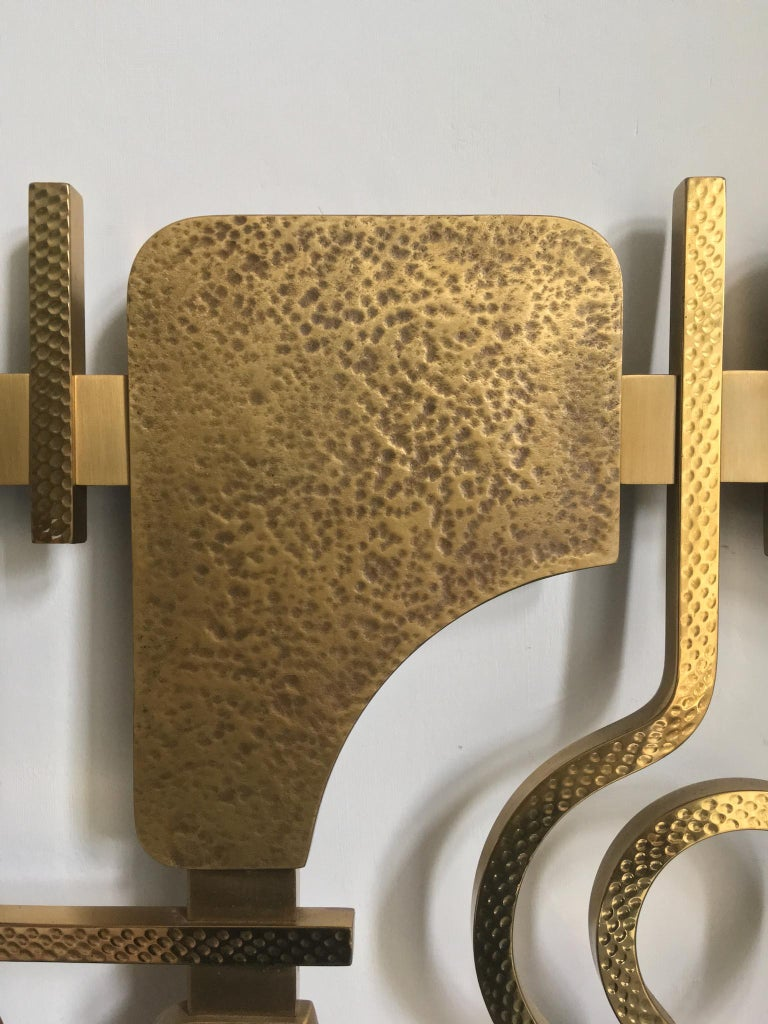 Metal Sculptural Brass Headboard by Luciano Frigerio, Italy, 1960s