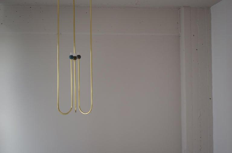 Modern Sculptural Brass Light Suspension,