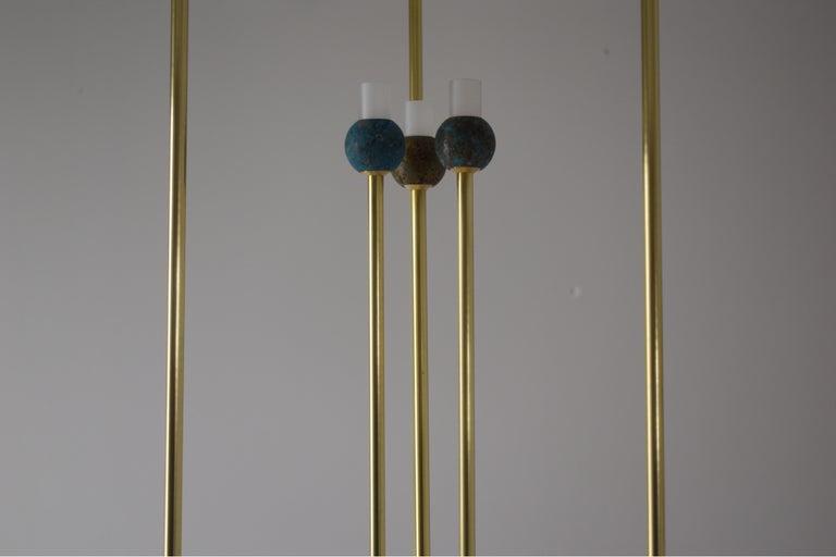 Greek Sculptural Brass Light Suspension,