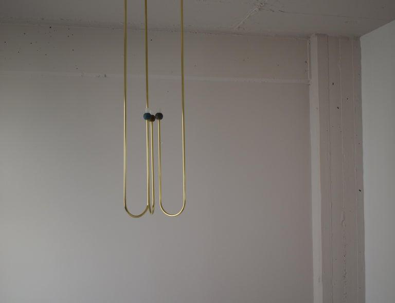 Sculptural Brass Light Suspension,