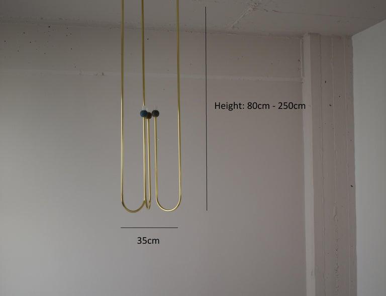 Contemporary Sculptural Brass Light Suspension,