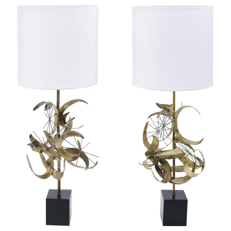 Sculptural Brass Table Lamps by Laurel For Sale