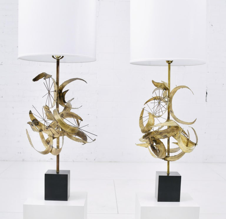 Brutalist torch cut brass sculpture lamps by Laurel Lighting, circa 1960s. As these were handmade, no two are exactly the same. They have slightly different tones to the patina, as naturally occurs to brass with age.