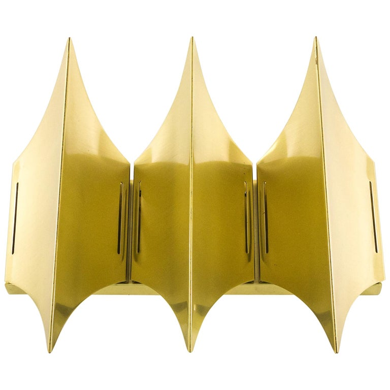 Sculptural Brass Wall Lamp Gothic III by Lyfa, 1960s For Sale