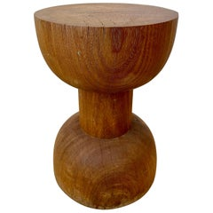 "Sculptural Brazilian Side Table or Stool in Hardwood ""One"""