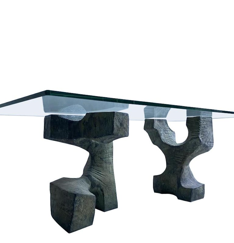 Spanish Sculptural Bronze Base, Glass Top, Table Signed by Valenti, Spain, Midcentury For Sale