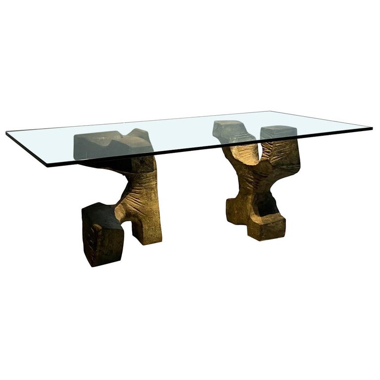 Sculptural Bronze Base, Glass Top, Table Signed by Valenti, Spain, Midcentury For Sale