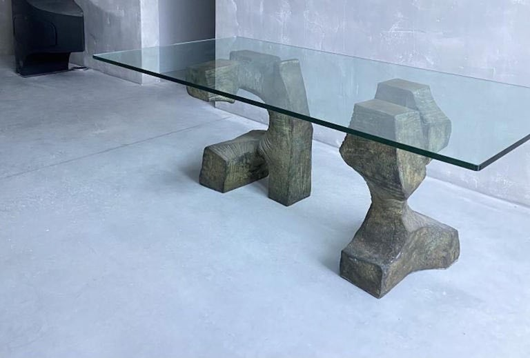 Sculptural Bronze Base, Glass Top, Table Signed by Valenti, Spain, Midcentury For Sale 3