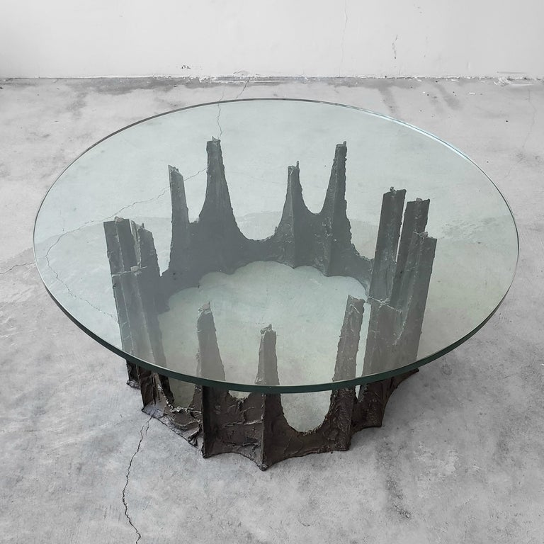 Mid-Century Modern Sculptural Bronze Brutalist Coffee Table by Paul Evans For Sale