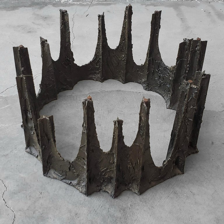 20th Century Sculptural Bronze Brutalist Coffee Table by Paul Evans For Sale