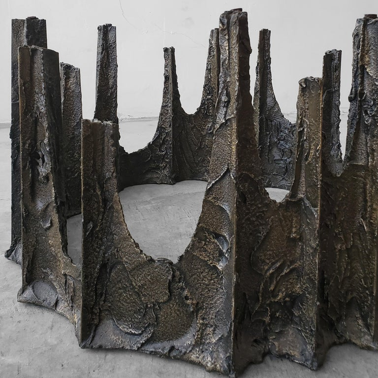 Sculptural Bronze Brutalist Coffee Table by Paul Evans For Sale 1