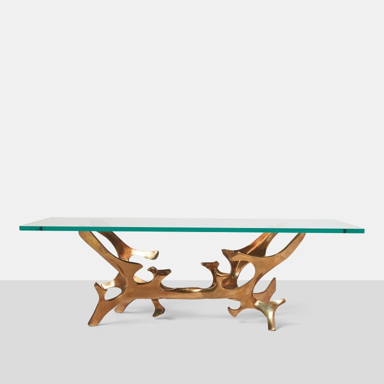 French Sculptural Bronze Coffee Table by Fred Brouard For Sale