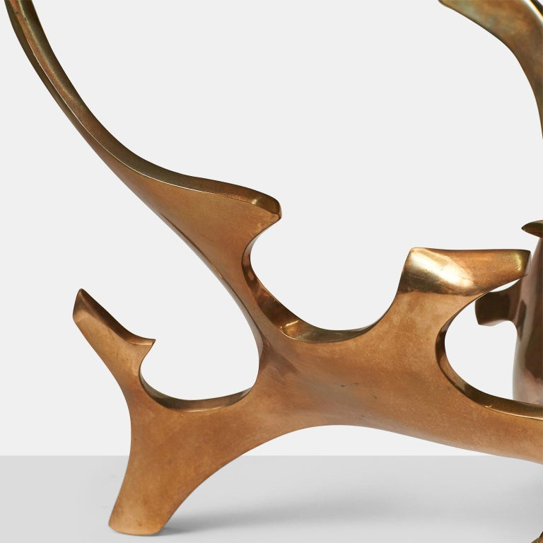 Mid-20th Century Sculptural Bronze Coffee Table by Fred Brouard For Sale