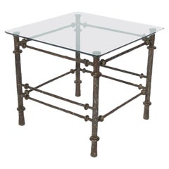 Sculptural Bronze Finish End Table in the Manner of Diego Giacometti