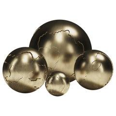 Sculptural Bronze-Patina Brass Spheres by Patrick Coard, Paris