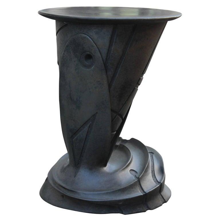 Sculptural bronze side tables by artist Gil Bruvel titled