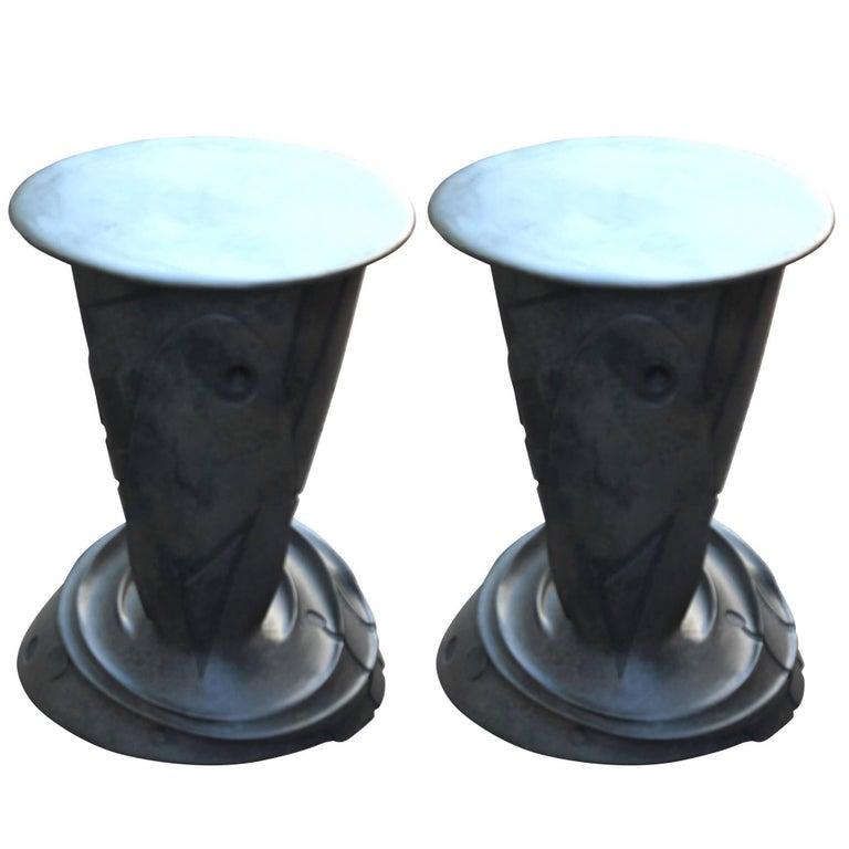 Sculptural Bronze Side Tables by Gil Bruvel For Sale